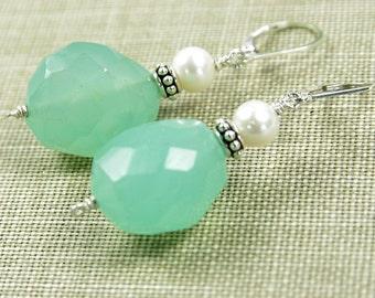 Aqua Chalcedony Earrings Freshwater Cultured Pearl Bali Bead Sterling Silver Lever Back Beaded Gemstone Dangle  Bridal Bride Seafoam Ocean