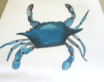 Blue Crab Hand Towel - Beach Hand Towel - Kitchen Towel - Seafood Hand Towel - Wedding Gift - New Home Gift - Original Art -New Orleans Gift