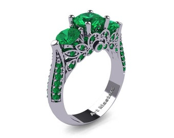 Classic 18K White Gold Three Stone Emerald Solitaire Ring R200-18KWGEM