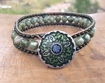 Green Rhyolite Beaded Leather Wrap Bracelet Medium