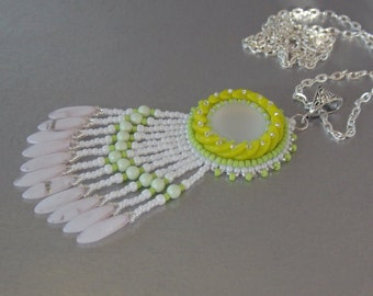 FREE SHIPPING, Bead embroidery, Pendant, Seed bead necklace, Trending style, Lunasoft, Mojito, Lime, green,