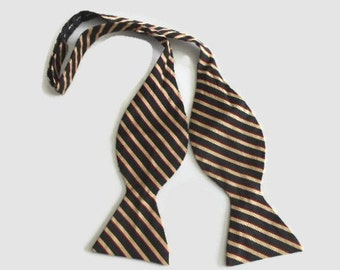 Vintage Brooks Brothers Self Tie Bow Tie Silk Black Tan Red Stripe Adjustable