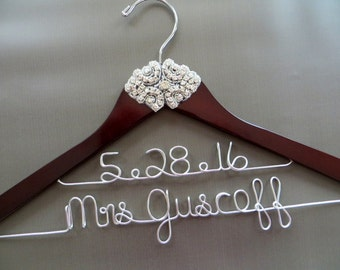 Name and Date Hanger, RHINESTONE Wedding Hanger, Two Line Hanger, Crystal Bride Hanger, Bride Hanger, Custom Hanger, Wedding Coat Hanger