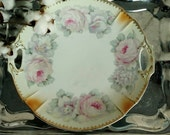 Antique Rose China Plate Made in Germany - Fine China Rose Transferware Platter, Cittage Chic + Shabby Chic Wall Art, Wedding Rose Decor