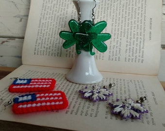 1980's Vintage Novelty Earrings - Four Leaf Clovers, American Flags, Yarn Art Jewelry, Costume Jewelry, Retro Jewelry Accessories, Dress Up