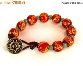 Clearance Sale Painted Wood bead bracelet - adventurine bracelet - faux leather cord - metal button