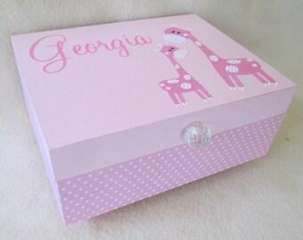 Baby Keepsake Box, Baby Memory Box,  Gift Box, Pink Polka Dot Memory Box - Giraffe -   Shower Gift