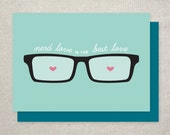 Valentine's Day Card, Nerd Love is the Best Love, Cute & Geeky for Him