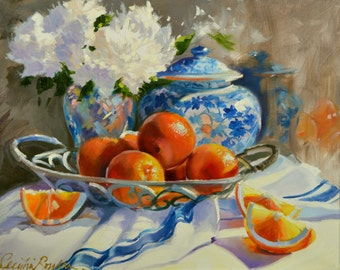 Art Print of, ORANGES AND DELFT, delft and orange, fruit, classic painting