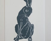 Reserved for CSW, Hare Woodcut Print