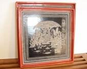 Vintage Asian Trays, Orange and Black, Chinoiserie Chic, Pair, Wall Art, Decorative Trays, Boho Chic Decor