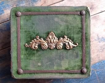 Antique acid green velvet jewelry box
