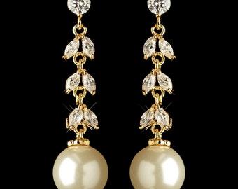 Bridal Earrings, Pearl Dangle Earrings, Gold Earrings, Gold Pearl Earrings, Gold Bridal Earrings, Pearl Drop Earrings, Bridesmaid Earrings