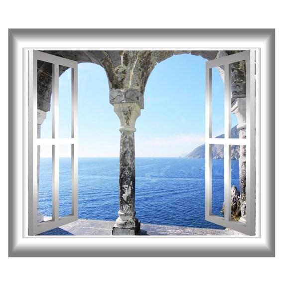 Mediterranean ocean 3d window frame wall decal greece ocean for Fenetre 3d windows 7