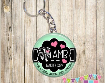 Radiology - Personalized - Inside that Counts - Xray Tech - KEYCHAIN - You Choose Color and Chain Option - Pink - Mint - Brite Blue