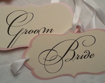 Bride and Groom Wedding Chair Signs (April Collection)