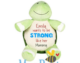 Strong Like My Mummy! Turtle Soft Toy, ideal for Mother's Day