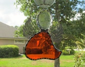 Orange Stained Glass Angel - Orange Cathedral Glass Angel with Silver Filigree Wings - Memorial Marker