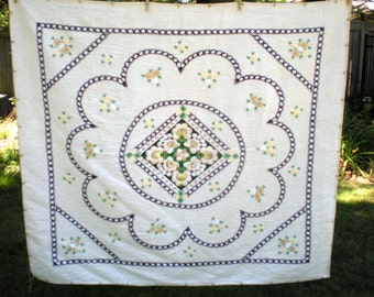 """Large Tablecloth EMBROIDERED 55"""" by 49"""" Cotton Muslin Yellow Flowers, Made in Budapest, Rectangular Table Clothe Ecru Black(NAVY)Green as-is"""
