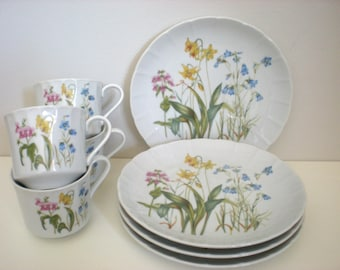 Set 4 Cups with 4 Plates,Shafford China Rock Garden, Bluebells Pink Pansies Yellow Lillies, Garden Party Shower Wedding GIFT SET of 8 Pieces
