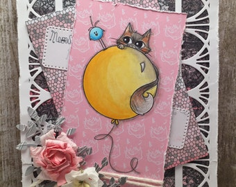 Sami Stamps Floating Kitty Handmade Card
