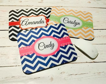 Personalized Mousepad - chevron pattern, monogram or name, teacher mousepad, holiday gifts, desk accessories, pink mpusepad