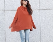 Lagenlook Hoodie Cape Style Top Fashionable Hooded Cotton Top in Dark Orange for Women - NC370