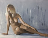 Original oil figure painting, nude reclining : Intimidité
