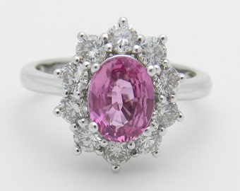 2.52 ct Diamond and Pink Sapphire Engagement Ring 14K White Gold Size 6.75