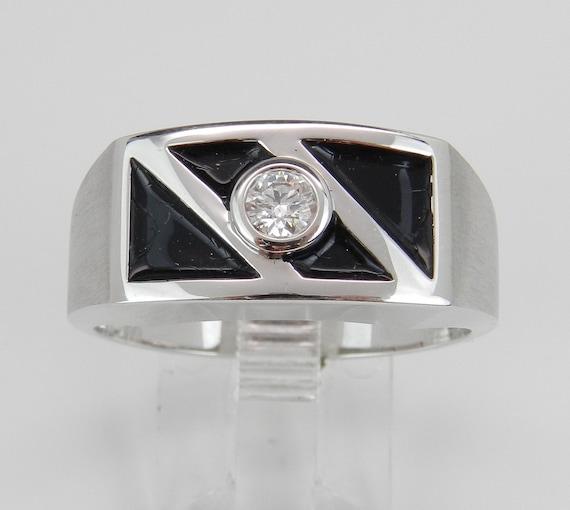 Diamond Solitaire Engagement Anniversary Band Black Enamel Wedding Ring White Gold Size 10.75