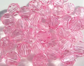 10mm Light Pink Faceted Acrylic Spacer Beads, Transparent Beads