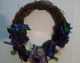 "Grapevine Wreath Floral Purple 18"""