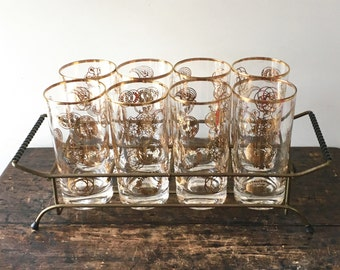 Vintage Set of 8 Drinking Glasses in Caddy