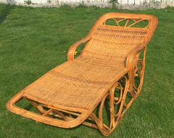 SALE Vintage Bamboo and Rattan Lounge Chair, Patio Chair, Rattan Chair, Chaise
