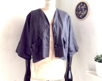 Relaxed blouson Blazer Linen ash-purple cropped light jacket One size