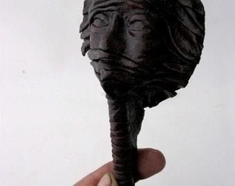 Handmade vegetable leather 3D scarved women face figure pen