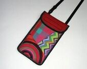 iPhone 7 Plus Case cell phone cover neck/crossbody bag Phone Purse boho pouch handmade hippie small sling bag mix fabrics rainbow multicolor