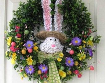 SALE - READY T0 Ship - Boxwood Wreath - Bunny Wreath - Spring Wreath - Easter Wreath - Easter Egg Decor - Easter Egg Wreath - Foyer Wreaths