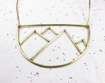 Statement Brass Mountain Necklace