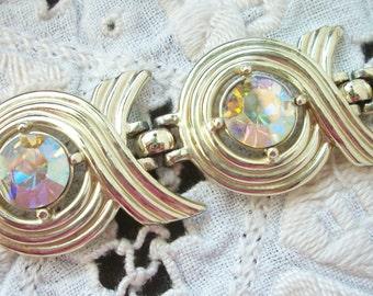 Aurora Borealis Bracelet Sarah Coventry Chunky Statement Piece ~ Gold Tone ~ Dazzling Sparkle