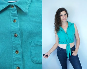 1980s 1990s Vintage Solid Teal Turquoise Aqua Seafoam Tie Up Crop Top Belly Shirt Cropped Tank / Collared Button Up Polo Shirt / Medium M 8
