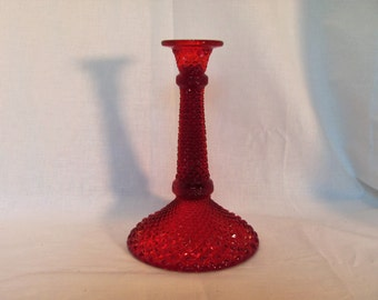 Red Candle Holder English Hobnail  by Westmoreland Glass RARE
