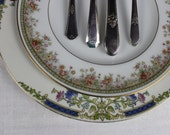 Cottage Chic Mismatched China with Silverware Vintage Tablesetting Shipping delay until June 30th