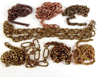 Assorted Vintage Chain, Random Chain, Textured Curb Chain, Rope Chain, Jewelry Chain, Patina Brass, B'sue, 9.5 - 20 Inch Lengths,Item08234