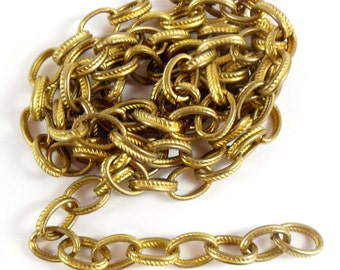 Vintage Rope Chain, Textured Chain, Jewelry Making, Vintage Brass, Oval Link Chain, Jewelry Chain, B'sue Boutiques, Over 3 Feet, Item06124