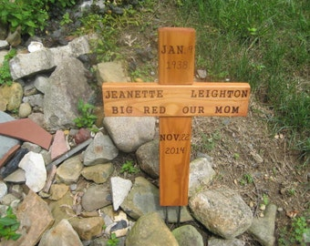 Medium Size - Personalize Memorial or Pet Cross - Re-purposed Wood - Two rows