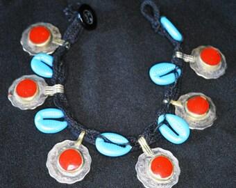 Vintage Kuchi Anklet Ankle Bracelet Cowries Cowry Shells RED Coins Hippie Boho Gypsy Tribal Uber Kuchi®
