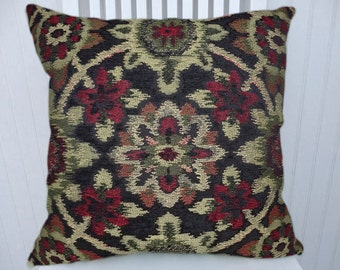 Black Beige Red Decorative Throw Pillow-Chenille, 18x18 or 20x20 or 22x22- Abstract, Eclectic Pillow Cover- Accent Pillow