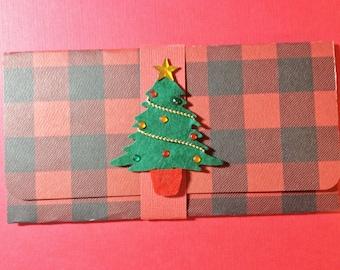 christmas Money/Gift Card/Check Holder, Handmade, Red, Black, Checked, Christmas Tree, Gems, Star
