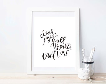 friday night lights, clear eyes, full hearts, can't lose,  hand lettered art print